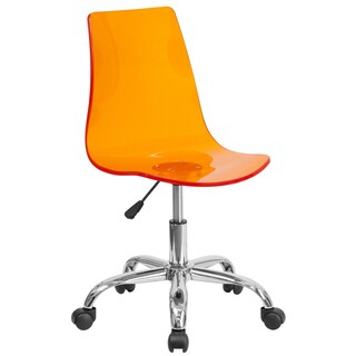 Lotos Orange Acrylic/Chrome Swivel Office Chair
