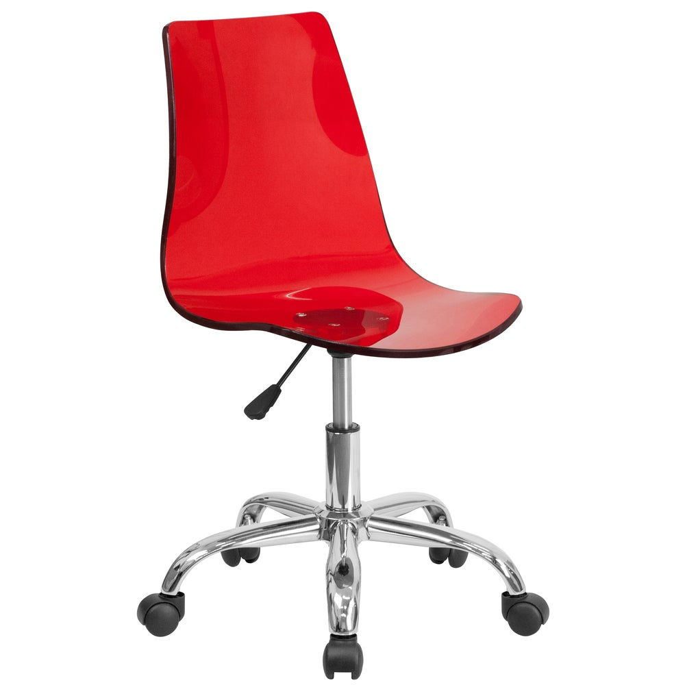 A Line Furniture Lotos Red Transparent Acrylic Swivel Office Chair With Chrome Base (1 Chair)