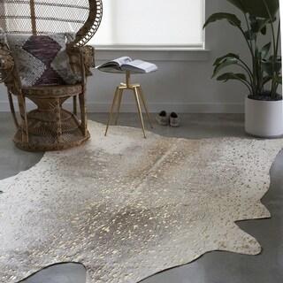 clayton pewter gold faux cowhide rug 5u0027 x