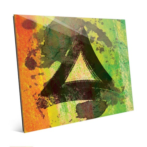 Lime Triangle Abstract Wall Art Print on Acrylic