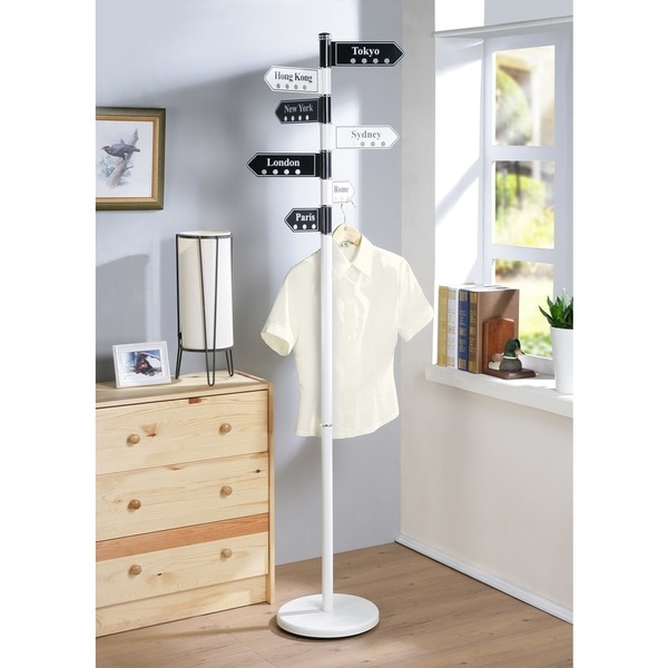 shop metz metal coat stand with city names free shipping today 16566617. Black Bedroom Furniture Sets. Home Design Ideas