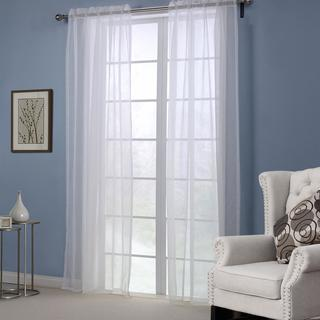Dreaming Casa Sheer Solid White Rod Pocket Curtain Panel Pair
