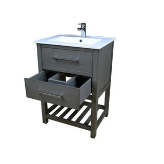 Priva 24 in. W x 18.25 in. D Vanity in Greywood with Single-Hole Ceramic Top in White and Mirror