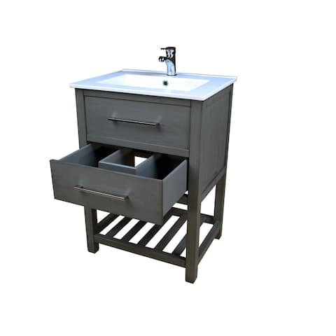 Priva 24 in. W x 18.25 in. D Vanity in Greywood with Single-Hole Ceramic Top in White and Mirror - Grey