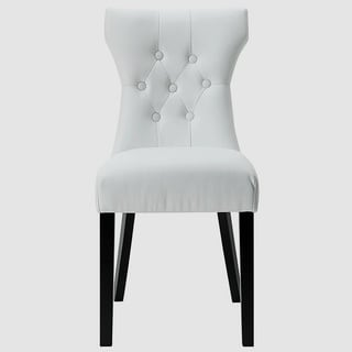 Decorium White Button-Tufted Curved Dining Chair