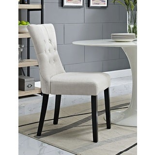 Decorium Beige Fabric Upholstered Curved Dining Chair