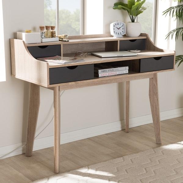 Bon Mid Century Modern 4 Drawer Oak And Grey Wood Study Desk By Baxton Studio