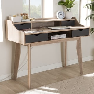 Mid-Century Modern 4-Drawer Oak and Grey Wood Study Desk by Baxton Studio