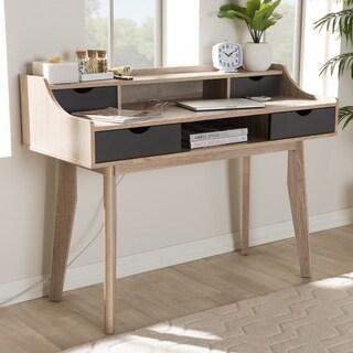 Mid-Century Modern 4-Drawer Oak and Grey Wood Study Desk by Baxton Studio