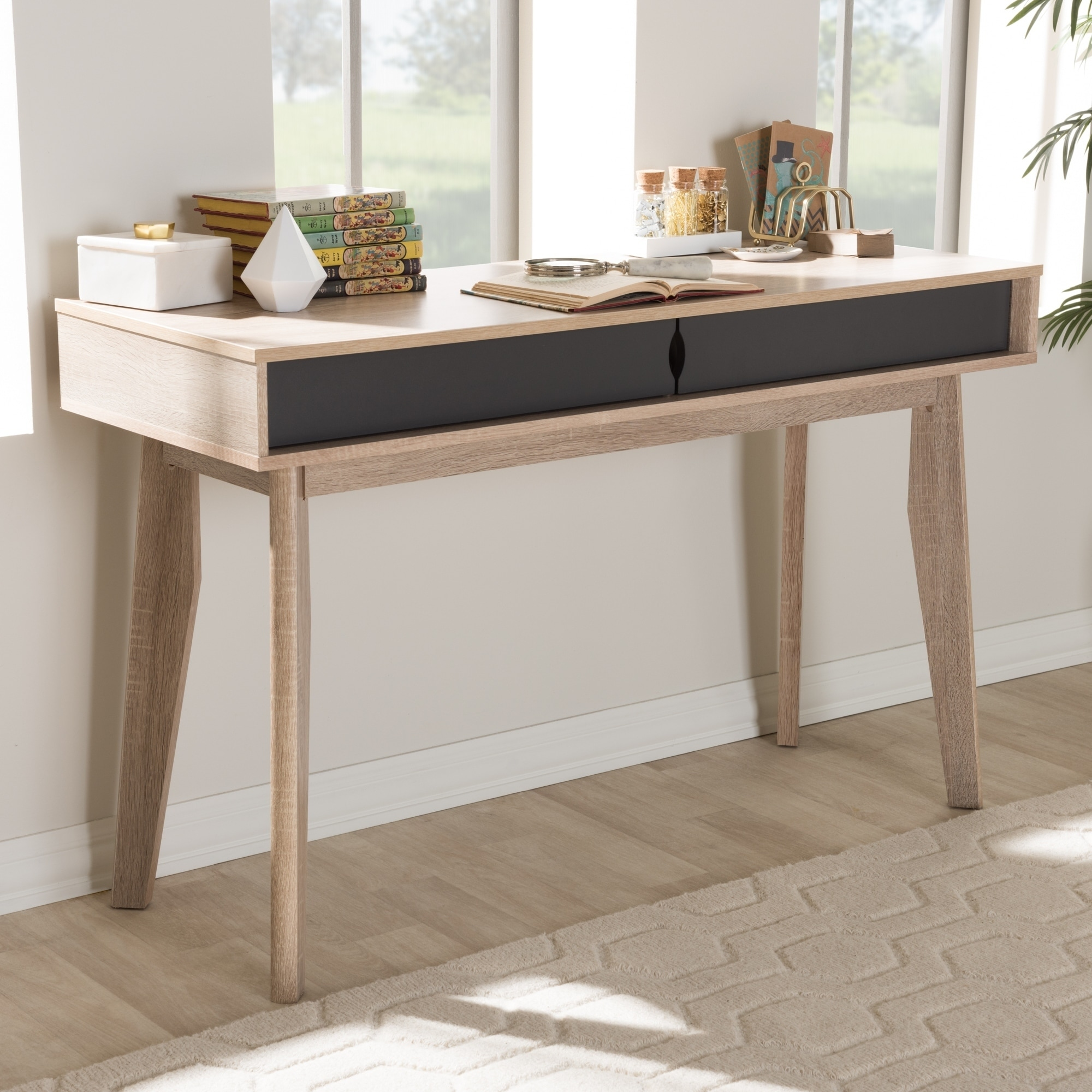 Image of: Shop Black Friday Deals On Mid Century 2 Drawer Oak And Grey Wood Study Desk By Baxton Studio Overstock 16566738