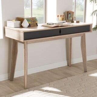 Mid-Century 2-Drawer Oak and Grey Wood Study Desk by Baxton Studio