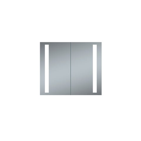 "Innoci-USA Melania 30"" x 26"" LED Recessed Double Door Lighted Medicine Cabinet For Vanity Featuring Built-In Cosmetic Mirror"