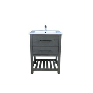 Priva 25 in. W x 22 in. D Vanity in Greywood with Single-Hole Ceramic Top in White and Mirror