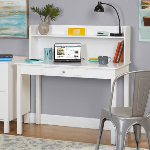 Simple Living Foster White MDF Desk with hutch
