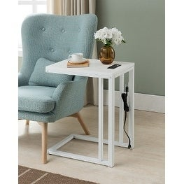 Shop Soho C Table With Charging Station In White Free Shipping