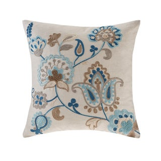 Madison Park Spring Florals Blue/ Taupe Linen Embroidered Square Pillow