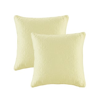 Madison Park Mansfield Yellow Quilted Square Pillow Pair