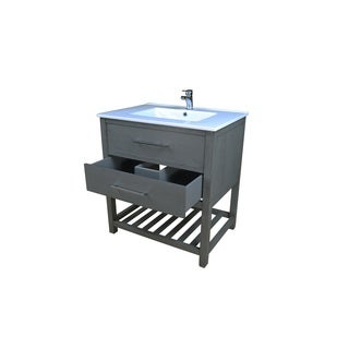 Priva 31 in. W x 22 in. D Vanity in Greywood with Single-Hole Ceramic Top in White and Mirror