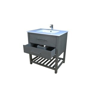 Priva 37 in. W x 22 in. D Vanity in Greywood with Single-Hole Ceramic Top in White and Mirror