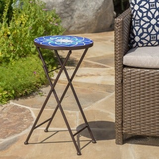 Azure Outdoor Round Tile Side Table/ Planter by Christopher Knight Home