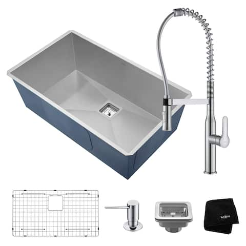 KRAUS Pax 31 In Undermount Single Bowl Stainless Steel Kitchen Sink, KPF-1640 Nola Commercial Pull Down Faucet Dispenser