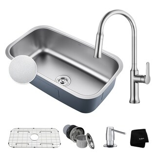 KRAUS 31 Inch Outlast Undermount Stainless Steel Single Bowl Kitchen Sink with Nola Pull Down Faucet and Soap Dispenser
