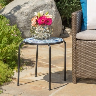 Skye Outdoor Round Tile Side Table/ Planter by Christopher Knight Home