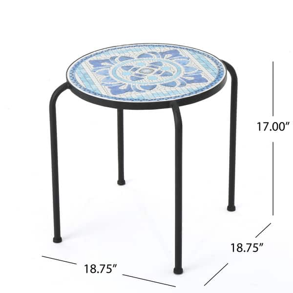 Skye Outdoor Round Tile Side Table