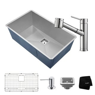 KRAUS 31  Inch Pax Undermount Single Bowl Stainless Steel Kitchen Sink with Oletto Pull Out Faucet and Soap Dispenser