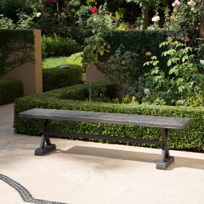 Chalmette Outdoor Concrete Bench by Christopher Knight Home