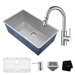 KRAUS 31 Inch Pax Undermount Single Bowl Stainless Steel Kitchen Sink with Oletto Pull Down Faucet and Soap Dispenser