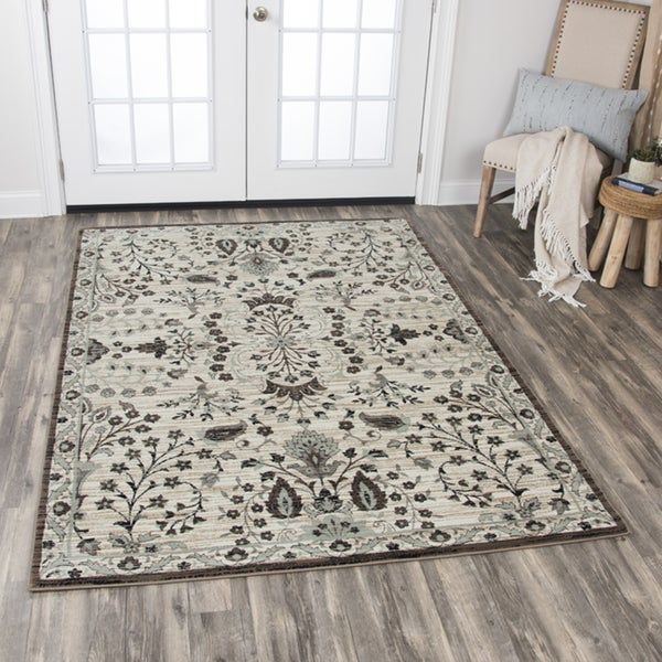 Rizzy Home Zenith Ivory Floral Area Rug - 7'10 x 10'10