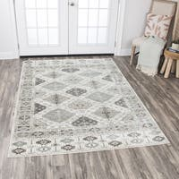 "Rizzy Home Zenith Ivory Motif Distressed Area Rug (7'10 x 10'10) - 7'10"" x 10'10"""