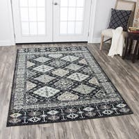 "Rizzy Home Zenith Black Motif Distressed Area Rug (7'10 x 10'10) - 7'10"" x 10'10"""