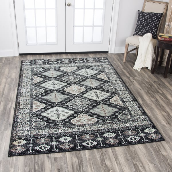 """Rizzy Home Zenith Black Motif Distressed Area Rug (7'10 x 10'10) - 7'10"""" x 10'10"""""""