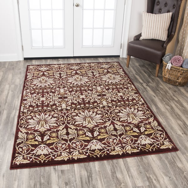 """Rizzy Home Zenith Red Damask Area Rug (7'10 x 10'10) - 7'10"""" x 10'10"""""""