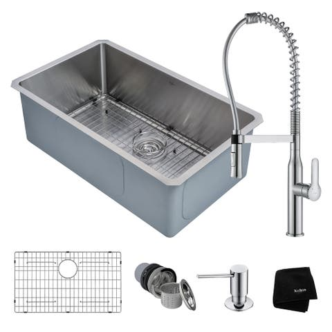 KRAUS 30 Inch Undermount Single Bowl Stainless Steel Kitchen Sink, KPF-1640 Nola Commercial Pull Down Faucet, Dispenser