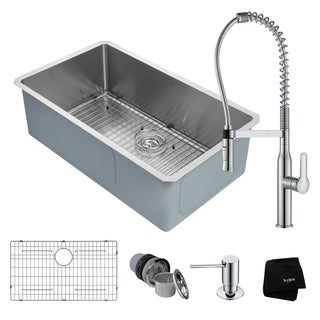 KRAUS 32 Inch Handmade Undermount Stainless Single Bowl Kitchen Sink with Nola Commercial Style Faucet and Soap Dispenser
