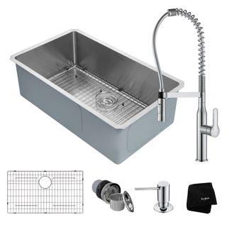 KRAUS 32-inch Handmade Undermount Stainless Single Bowl Kitchen Sink with Faucet|https://ak1.ostkcdn.com/images/products/16567232/P22898980.jpg?impolicy=medium