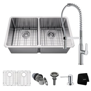 KRAUS 33 Inch Undermount 50/50 Double Bowl Stainless Steel Kitchen Sink with Nola Commercial Style Faucet and Soap Dispenser
