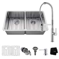 KRAUS 33 Inch Undermount Doble Bowl Stainless Steel Kitchen Sink, KPF-1640 Nola Commercial Pull Down Faucet, Dispenser
