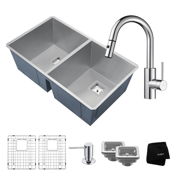 KRAUS Pax 31 Inch Undermount Double Bowl Stainless Steel Kitchen Sink, KPF-2620 Oletto Pull Out Faucet, Soap Dispenser