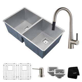KRAUS 31 Inch Pax Undermount 50/50 Double Bowl Stainless Steel Kitchen Sink with Crespo Pull Down Faucet and Soap Dispenser