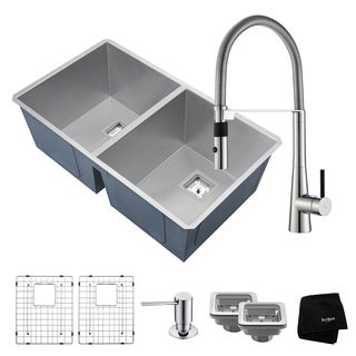 KRAUS 31 Inch Pax Undermount Double Bowl Stainless Steel Kitchen Sink with Crespo Commercial Style Faucet & Soap Dispenser