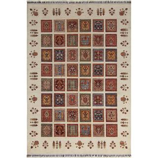 Arshs Fine Rugs Hand-knotted Dastan Glen Multicolor/Ivory Wool Rug (5'7 x 7'11)