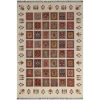 Arshs Fine Rugs Hand-knotted Dastan Glen Multicolor/Ivory Wool Rug - 6' x 8'
