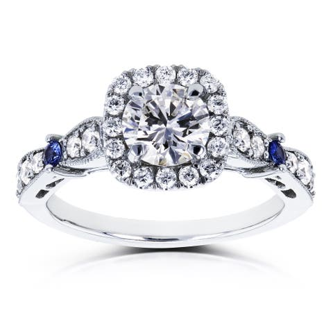 Annello by Kobelli Certified Platinum 1 1/5ct TCW Diamond and Sapphire Vintage Style Halo Engagement Ring (F, SI1)