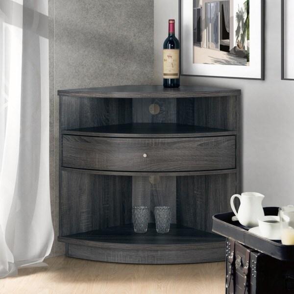 Furniture of America Aishe Contemporary Multi-shelf Corner Buffet ...