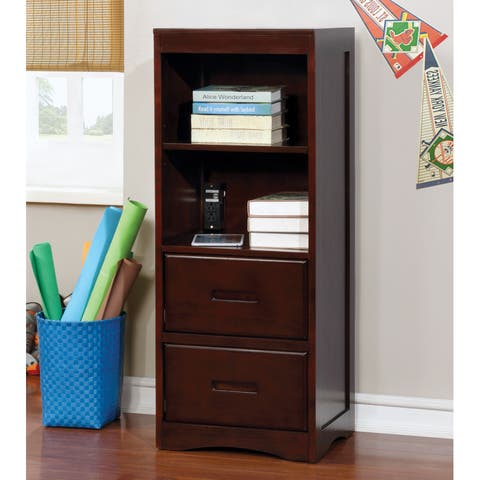 Paige Transitional Dark Walnut Multi-Storage Youth Bookcase by FOA