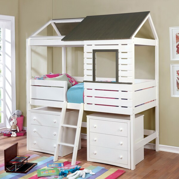 Furniture Of America Alen Transitional Two Tone House Inspired White/Grey  Twin Size